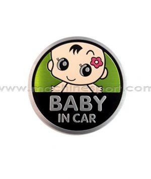 استیکر کودک در ماشین سبز Baby In Car Sticker