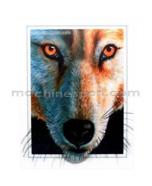 استیکر سه بعدی گرگ قرمز