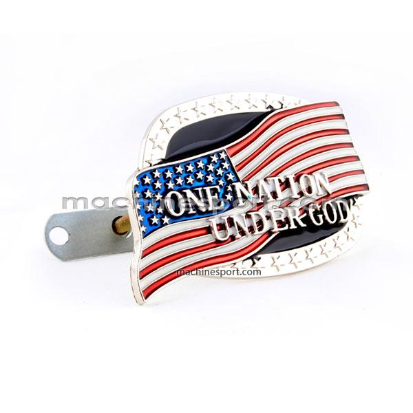 آرم جلو پنجره ملت تحت الحمایه خدا با پرچم امریکا