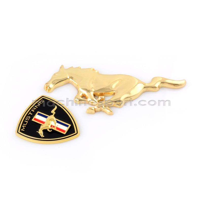 ست آرم اسب فورد موستانگ طلایی 2 تکه