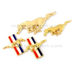 ست کامل آرم اسب موستانگ طلایی پرچم دار