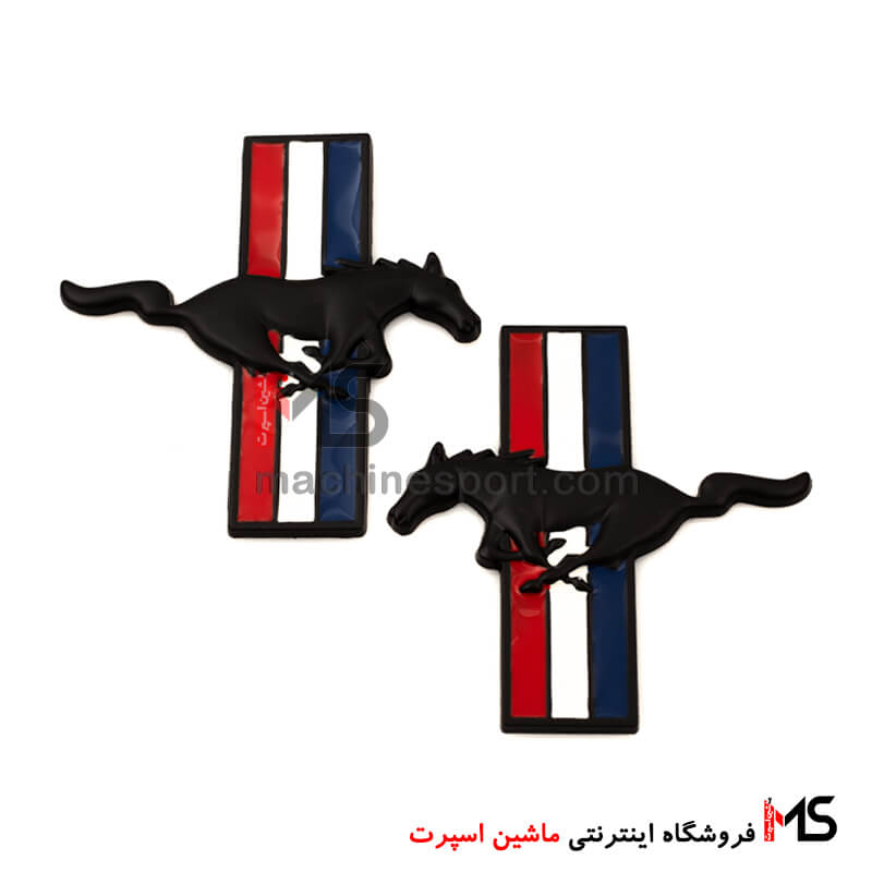 آرم اسب فورد موستانگ پرچم دار مشکی
